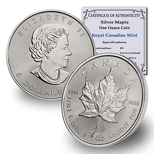 1988 CA - Present (Random Year) Canada 1oz Silver Maple Leaf $5 Brilliant Uncirculated w/COA by CoinFolio $5 BU