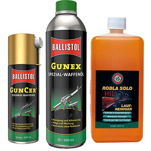 BALLISTOL Waffenpflege-Set Robla Laufreiniger Gunex Waffenöl GunCer Keramik-Waffenöl Spray
