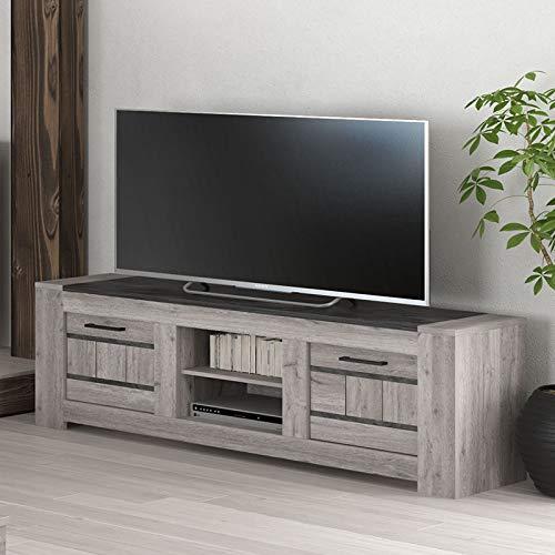 NOUVOMEUBLE Meuble TV 155 cm Moderne Couleur chêne Gris Came