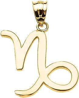 Personalized 10k Yellow Gold Capricorn Zodiac Sign Charm Pendant
