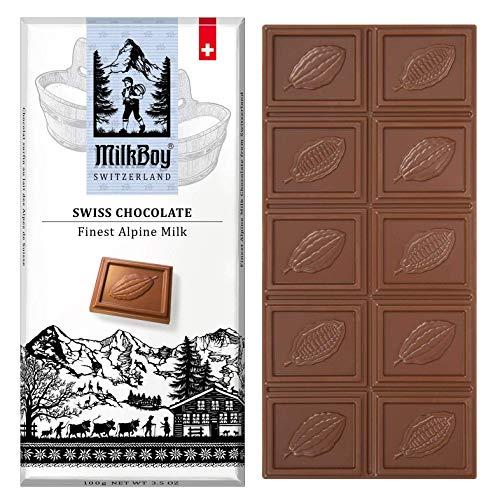 Milkboy Swiss Chocolate Bars - Premium Swiss Alpine Milk Chocolate Bars | Smooth Milk Chocolate | European Chocolates | Sustainably Farmed Cocoa | milk chocolate gift | Gluten Free | 3.5 oz | 5 Pack