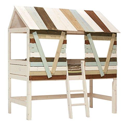 Hüttenbett mit Leiter - white wash