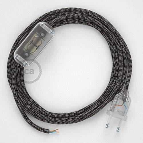 creative cables Zuleitung für Tischleuchten RD74 Zick-Zack Anthrazit 1,80 m. Wählen Sie aus DREI Farben bei Schalter und Stecke. - Transparent