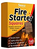 Bangerz Sunz Fire Starter Squares 160, Larger and Safer Fire Starters for Fireplace, Wood Stove & Grill, Camp Fire Pit Charcoal Starters 50B, USA Made