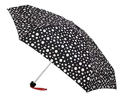 Paraguas Vogue ultramini. Tres Estampados en Blanco y Negro. Cerrado sólo Mide 18 cm. Ligero, antiviento y Acabado Teflón (Blanco y Negro Topos)
