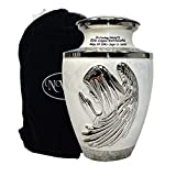 Praying Angel Funeral Cremation Urn for Human Ashes with Custom Engraving, White Large Brass Urn