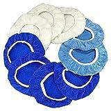 Buffer Bonnetets, 9 a 10 pulgadas Polador de automóviles Pads Microfibra Waxs Cobera de cera Conjunto 9pcs azul, blanco