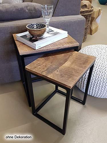 Couchtisch Set 2 Stück Wohnzimmer Tisch Satztisch Dallas Metall-Gestell schwarz oder weiß Farbe schwarz matt - Tabacco