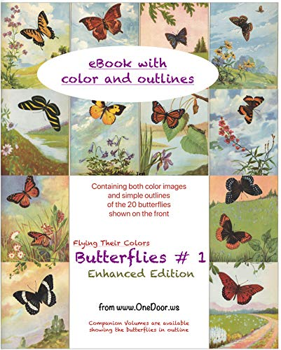 Butterflies #1 Enhanced Edition (eBook): eBook with color and outlines (Flying Their Colors)
