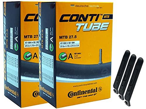 pneugo! Continental 47-584/62-584 - Juego de 2 cámaras de aire para bicicleta (27,5', válvula de coche, 3 desmontadores de neumáticos)