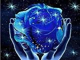 TianMai Heiß Neu DIY 5D Diamant Malerei Kit Kristalle Diamant Stickerei Strass Malerei Kleben Malen nach Zahlen Stich Kunst Kit Zuhause Dekor Mauer Aufkleber - Sternenlicht-blaue Rosen-Blume,25x20cm