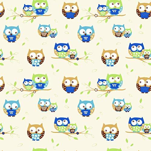 Pingianer 100% cotone per bambini, al metro, per lavori di cucito fai da te, motivo gufo, marrone crema, marrone, blu, 100 x 160 cm (11,99 /m))
