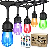 2-Pack 48FT Color Changing Outdoor String Lights, RGB Cafe LED String Light with 30+5 S14 Shatterproof Edison Bulbs Dimmable, Commercial Light String for Patio Backyard Garden, 3 Remote Control, 96FT