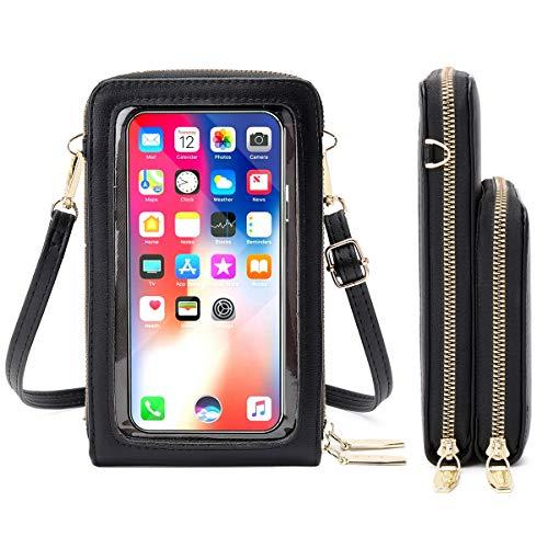 Monedero para mujer para pantalla táctil, bolso de piel sintética con bloqueo RFID, con 15 ranuras para tarjetas, correa ajustable extraíble para el hombro, para teléfono móvil de menos de 6,5 pulgadas