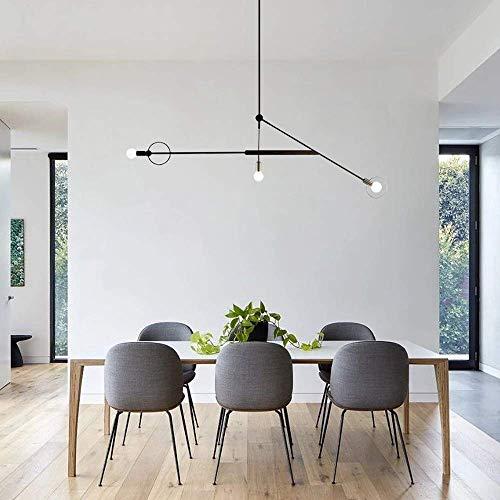 HYY-YY Moderna lámpara de techo industrial minimalista con luz LED y E27 de hierro forjado, comedor, sala de estar, dormitorio, D47 x H59 pulgadas, color negro mate