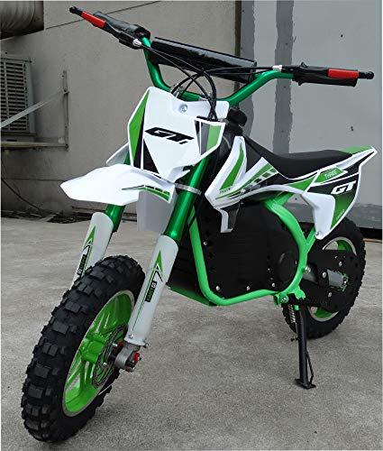 Mini moto para niños electrica - Mini pit bike con motor de 350w, baterias de 24V y 12ah. Niños/as de 5 a 12 años. PITBIKE (VERDE)