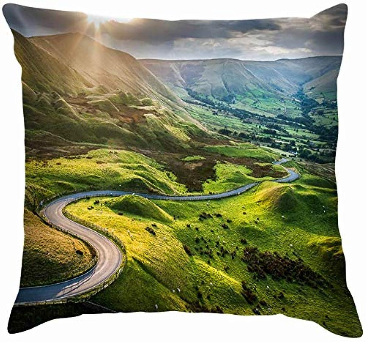 礼儀ネット付与Sunset Mam Tor Peak District National Road Nature Throw Pillows Covers Home Sofa Cushion Cover Pillowcase Gift 45x45 cm