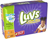 Diapers Size 3, 34 Count - Luvs Ultra Leakguards Disposable Baby Diapers