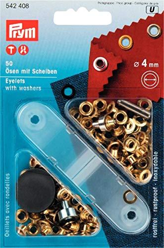 Prym 542408 Ösen und Scheiben Messing 4,0 mm goldfarbig, Metal, 4 mm