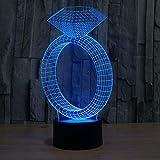 Bombilla De Edison,Regalo Electrónico Creativo, Lámpara Del Vector De La Lámpara De Mesa De La Luz De La Noche De La Atmósfera De La Pendiente Colorida Del Anillo De Diamante 3D, B