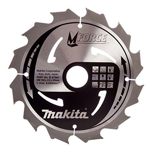 Makita b-07967190x 30mm Force Kreissägeblatt natürlich Schnitt für Holz mit 12Zahn–Rot/Silber
