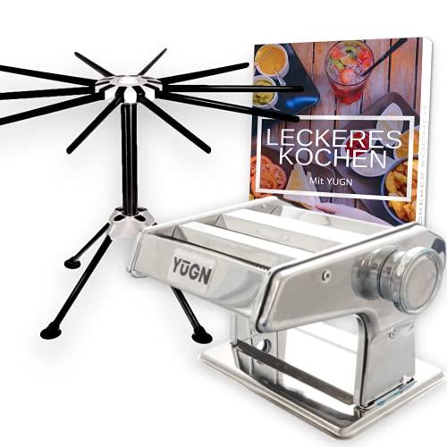 YUGN Manuelle Nudelmaschine und Nudeltrockner - Pastatrocker für Nudeln und spülmaschinenfest - Edelstahl Nudelmaschine mit austauschbarer Kopf- und Tischklemme und Gummifüßen - Kostenloses eBook