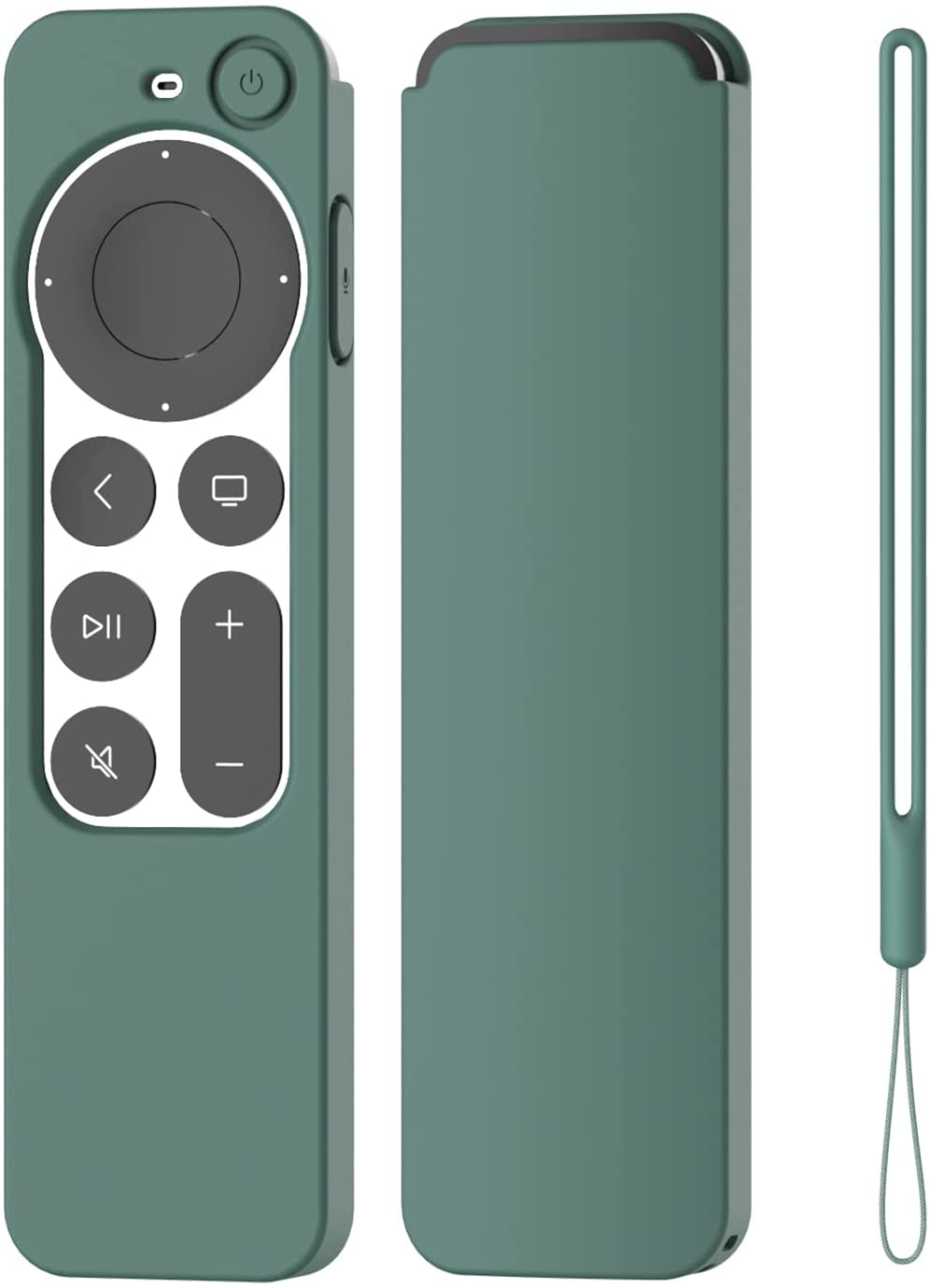 K TOMOTO Compatible with Apple TV 4K Siri Remote Case 2021, Silky-Soft Anti-Slip Protective Silicone Cover for Siri Remote Control 2nd Generation [Lanyard Included], Pine Green