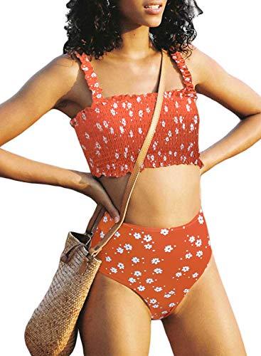 Dokotoo Womens Sporty Straps Floral Print Smocked Padded Beach Fashion Bikini Sets Swimsuits Two Pieces Swimwear Bathing Suits with High Waist Swim Briefs Medium D Orange