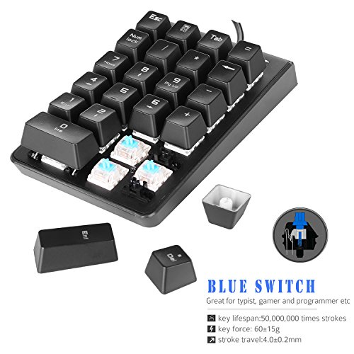 Number Pad, ROTTAY Mechanical USB Wired Numeric Keypad with Blue LED Backlit 22 Key Numpad for Laptop Desktop Computer PC Black (Blue switches)