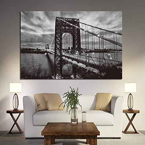wZUN Nueva York Puente de Brooklyn Carteles e Impresiones en Blanco y Negro Paisaje Arte Lienzo Pintura Abstracta Cuadro de Pared de Sala de Estar 60x80 Sin Marco