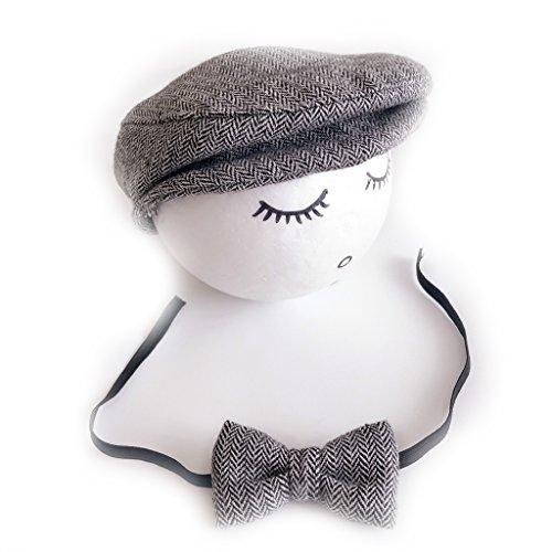 VIccoo Hut, Häkeln Sie Baby und Krawatte handgemachte geboren Fotografie Requisiten Baby Mütze Beanie - Schwarz-Weiss