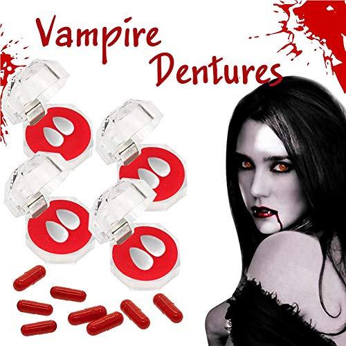 Colmillos Funda De Dientes Colmillos De Vampiro, Set de dentadura de vampiro de Halloween, Set de dentadura de vampiro Set de maquillaje de dientes de Halloween Zombie Ghost Werewolf Teeth Fiesta de H