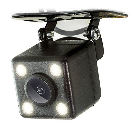 XOMAX XM-020 Auto Rückfahrkamera Set mit Halterung, Nachtsicht mit 4 leistungsstarken LED Lampen, Einparkhilfe: Distanz Linien in Farbe, PAL, Sichtbereich: Weitwinkel 170°, 5m Video-Kabel
