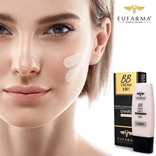 Bakaji BB Cream Fondotinta Chiaro 5 in 1 Crema Perfezionatore Viso Protezione SPF 20 Eufarma Cosmetica Italiana