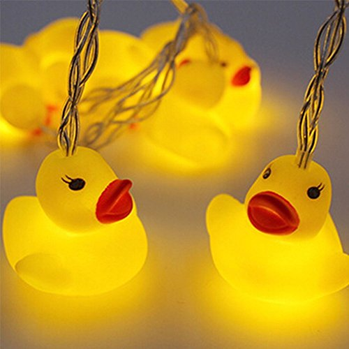 1.5 Meter Battery Powered Cute Animal Duck Shape 10 Led Fairy Lights String Lights for Halloween Christmas Thanksgiving Home Party Children Kids Bedroom Decoration