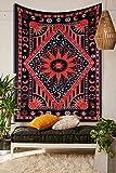 THE ART BOX Aesthetic Room Decor Schlafzimmer Wanddekoration Trippy Tapisserie Indische Ästhetische Sonne Mond Hippie Tie Dye Tischdecke Psychedelic Tagesdecke 100prozent Baumwolle rot 140x210 cm
