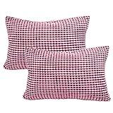 YeVhear - Juego de 2 fundas de cojín, de terciopelo acanalado, suave, para sofá, cama, coche, 12 x 18 pulgadas, color rosa