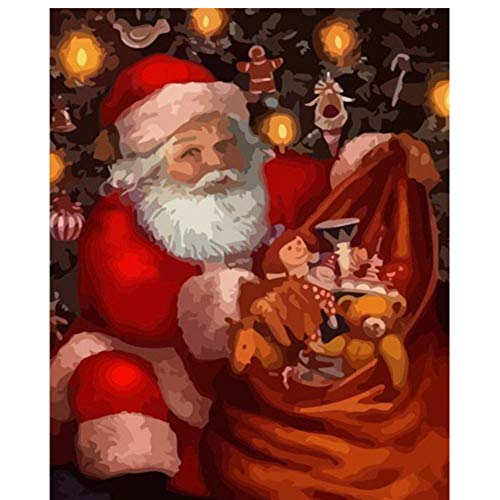 MRQXDP Santa Under The Christmas Tree Frame Adult Paint Santa Claus Diy Home Decoration Acrylic Paint Coloring By Numbers Winter