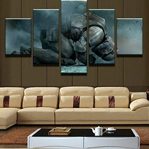 XIAOAGIAO 5 Canvas Prints 5 Panel Framed Wars Stormtrooper Anguish Modern Canvas Wall Art HD Print Paintings on Canvas
