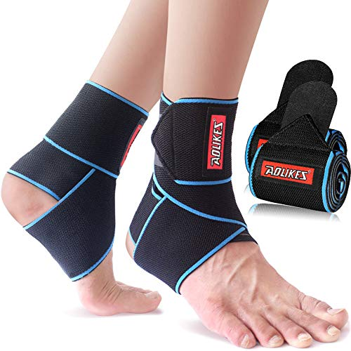 beister 1 Pair Nylon Elastic Compression Ankle Support Wrap, Adjustable Sprains Foot Brace Sleeve for Sports Protect, Plantar Fasciitis, Achilles tendonitis, Injury Recovery, One Size Fits All (Blue)