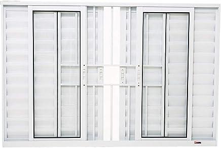 Janela Veneziana 6 Folhas em Alumínio 120 x 200 x 8,4 cm com Grade Branco Boldie Prado Alumínio