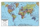 Carta geografica murale planisfero mondo 100x140 scolastica bifacciale fisica e politica