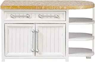 Dollhouse Miniature Faux Marble & Beadboard End Cabinet