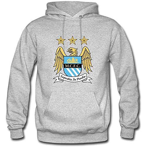 Men Manchester City Team Logo Casual Hooded Sweatshirt Hoodies Shirt Heather Gray