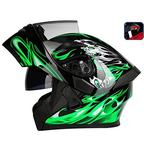 OUTO Uncovering Casque Moto équitation extérieure LED feu arrière Avertissement HD Anti-Brouillard Miroir Casque intégral Visage et Les Hommes Cool (Couleur : Black Green Devil, Taille : XL)