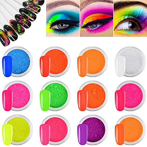 EBANKU Pigmento Polvere per Unghie, 12 Scatole Pigmenti per Fluorescenza Polvere Glitter Ultrafine per Unghie di Polvere di Pigmento al Fosforo al Neon Decorazioni per Unghie