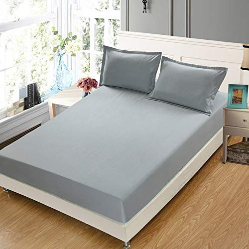 DOUJIAO Pure Color Bed Sheet One-Piece Dormitory Bed Cover Non-Slip Simmons Mattress Protection Cover Multi-Size Without Deformation150x190cm+25cm