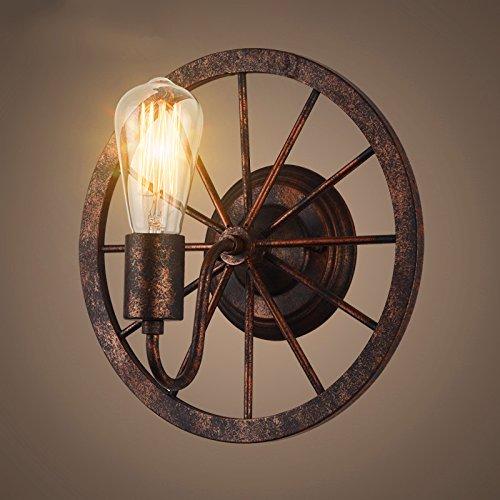 YU-K Lampe Murale roue Loft couloir créatif rétro décoration allée cafe restaurant moulin industriel rétro éclairage mural roue 300 * 300MM