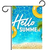 庭の旗芝生の装飾庭の装飾屋外の農家の装飾ホオジロ旗こんにちは夏のビーチ 両面バナー