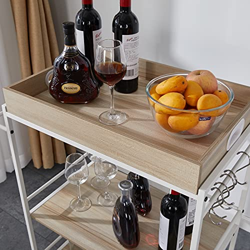 Befrases Bar Serving Cart Home Mobile Kitchen Serving cart on Wheels 3-Tier Wine Cart with Storage,Removable Tray, Industrial Vintage Style Wood Metal Serving Trolley, White (US in Stock)